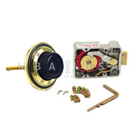 """3-WHEEL LOCK, DIAL & RING, FRONT READING, POLISHED BRASS, 3.5"""" DOOR THICKNESS"""