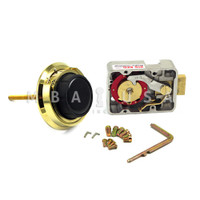 """3-WHEEL LOCK, DIAL & RING, SPY GUARD, POLISHED BRASS, 3.5"""" DOOR THICKNESS"""