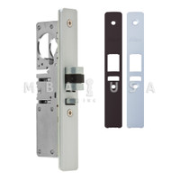 "Latch Bolt Lock, 1-1/8"" Backset, Left Hand, Faceplates Flat Clear and Dark Bronze FP"