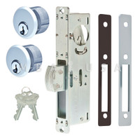 "Dead Bolt Lock 1-1/8"" Backset, 2 Mortise Key Cylinders - 1"" Schlage C (Aluminum) and 2 Faceplates"