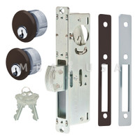 "Dead Bolt Lock 1-1/8"" Backset, 2 Mortise Key Cylinders - 1"" Schlage C (Dark Bronze) and 2 Faceplates"