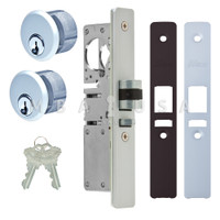 "Latch Bolt Lock 1-1/8"" Backset (Left Hand), 2 Mortise Key Cylinders - 1"" Schlage C (Aluminum) and 2 Faceplates"