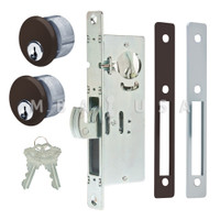 "Hook Bolt Lock 1-1/8"" Backset, 2 Mortise Key Cylinders - 1"" Schlage C (Dark Bronze) and 2 Faceplates"