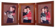 Triple Hinge Portrait Picture Frame - Cherry Finish