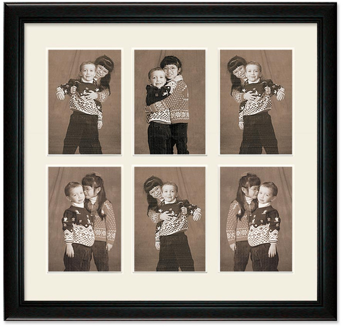 Deluxe Black collage frame, 6- openings with off white mat