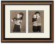 Two Toned Walnut finish 2-opening collage frame with off white double mat