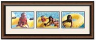 Two Toned Walnut Finish Landscape collage frame, 3-openings with off white double mat