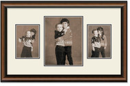 Two Toned Walnut finish Collage frame, 3-openings, 2 sizes with off white double mat