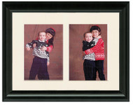 Traditional Black collage frame with 2-openings and off white mat