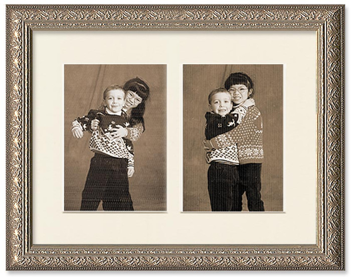 Silver ornate collage frame with 2-openings and a off white mat