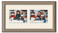 Imperial Silver collage frame with 2-horizontal openings and off white mat