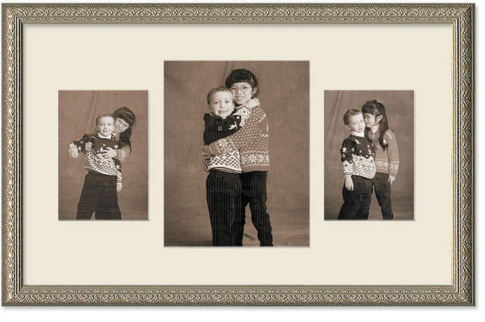 Imperial Silver Collage frame, 3-openings, 2 sizes with off white mat