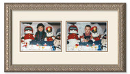 Imperial Silver collage frame with 2-horizontal openings and off white double mat