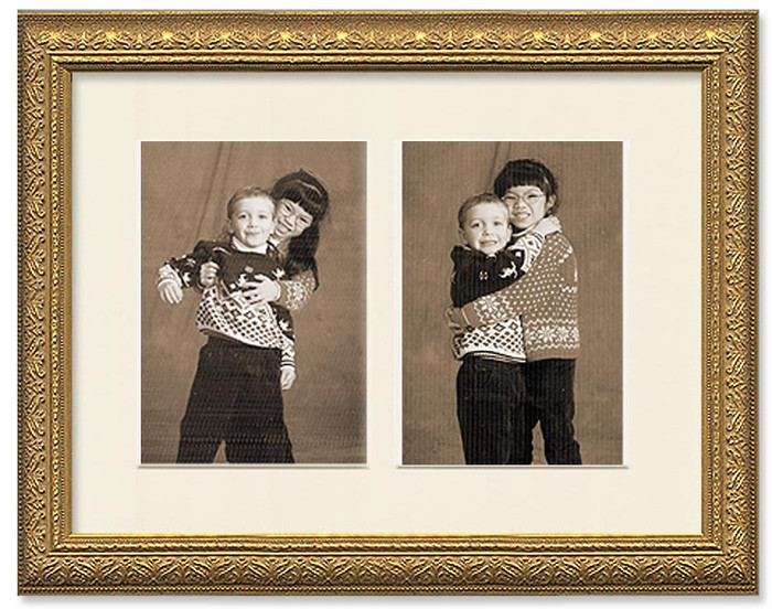 Gold ornate collage frame with 2-openings and off white mat