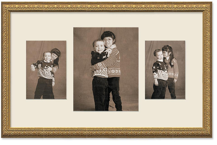Imperial Gold Collage frame, 3-openings, 2 sizes with off white mat