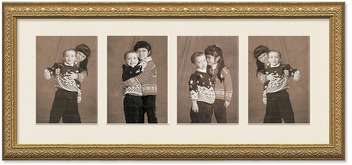 Imperial Gold Collage frame, 4-openings with off white mat