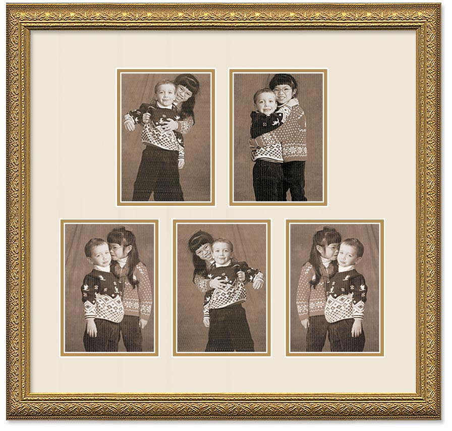 Imperial Gold Portrait Collage Wall Frame Double Mat 5