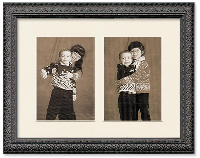 Black ornate collage frame with 2-openings and off white mat