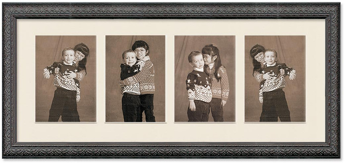 Imperial Black Collage frame, 4-openings with off white mat