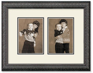 Black ornate collage frame with 2-openings and off white double mat