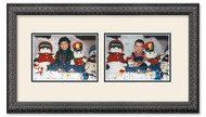 Imperial Black collage frame with 2-horizontal openings and off white double mat