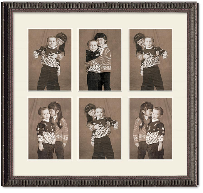 Ornate Black collage frame, 6- openings with off white mat
