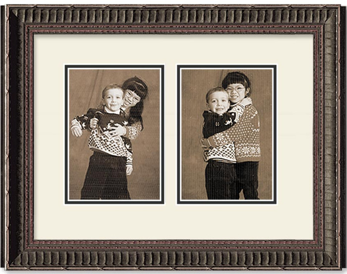 Ornate Black portrait 2-opening collage frame with off white double mat