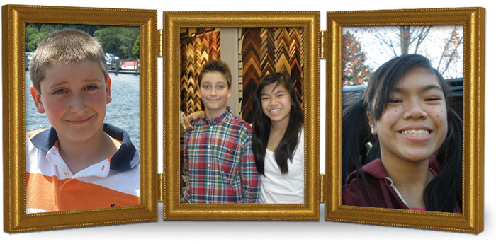 Antiqued Gold Wood Frame, Triple Hinged Portrait for 3.5x5 Pictures