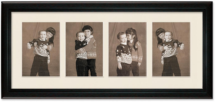 Deluxe Black Portrait Collage Frame, 4- Openings for 5x7 Pictures (Off White Mat)