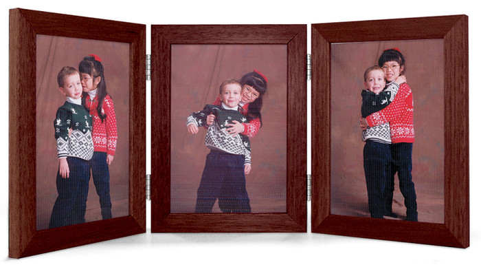 5x7 Triple Hinge Vertical (Portrait) Picture Frame - Walnut Finish