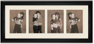 Deluxe Black Portrait Collage Wall Frame, 4- Openings for 6x8 Pictures, Off White Mat