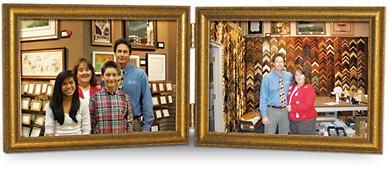 10x8 Double Hinged Landscape Antiqued Gold Wood Frame