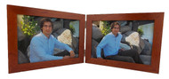 Landscape Double Hinge 5x3.5 Picture Frame, Cherry Finish