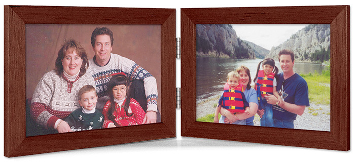 Walnut Finish 5x3.5 Horizontal Double Hinge Picture Frame