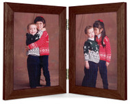 Double Hinge Vertical (Portrait) Picture Frame - Walnut Finish