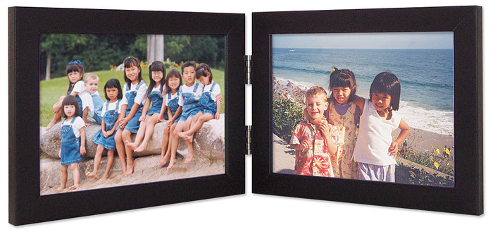 Double Hinge Horizontal (Landscape) Picture Frame - Black Finish
