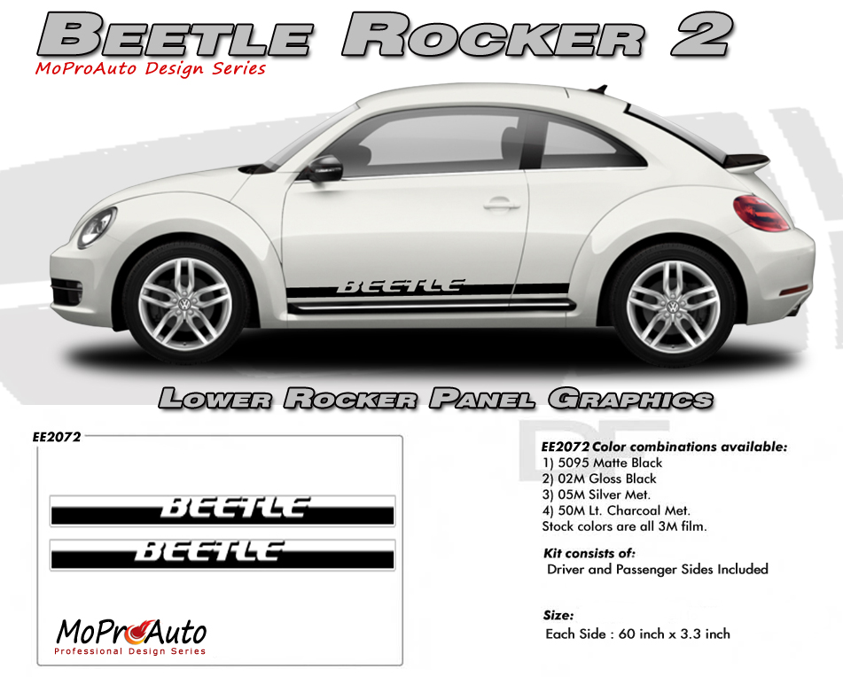 Volkswagen Beetle Rocker Panel - MoProAuto Pro Design Series Vinyl Graphics and Decals Kit