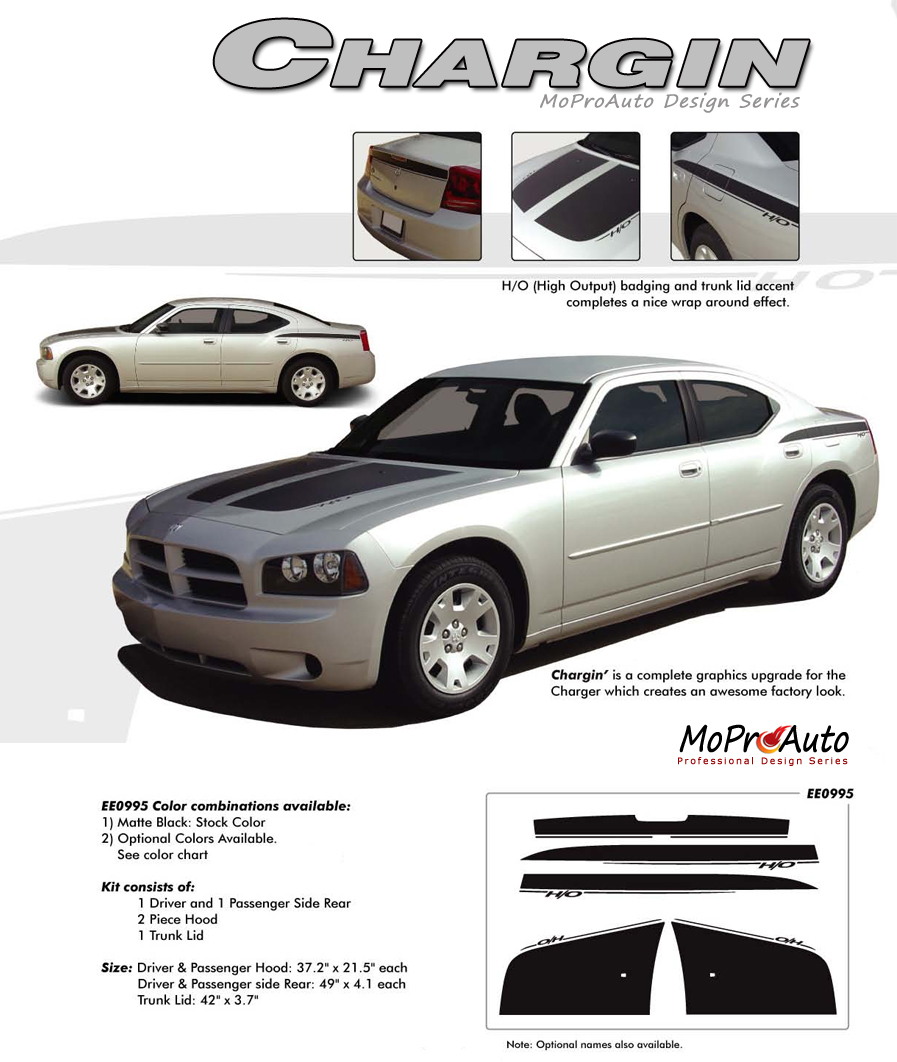 Dodge Charger CHARGIN Vinyl Graphics, Stripes and Decals Set