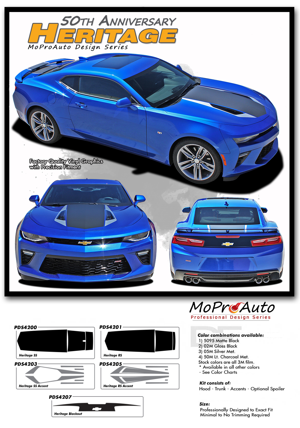 2016 2017 2018 Chevy SS RS Camaro HERITAGE 50th ANNIVERSARY INDY 500 Vinyl Graphics Kits, Decals, Stripes