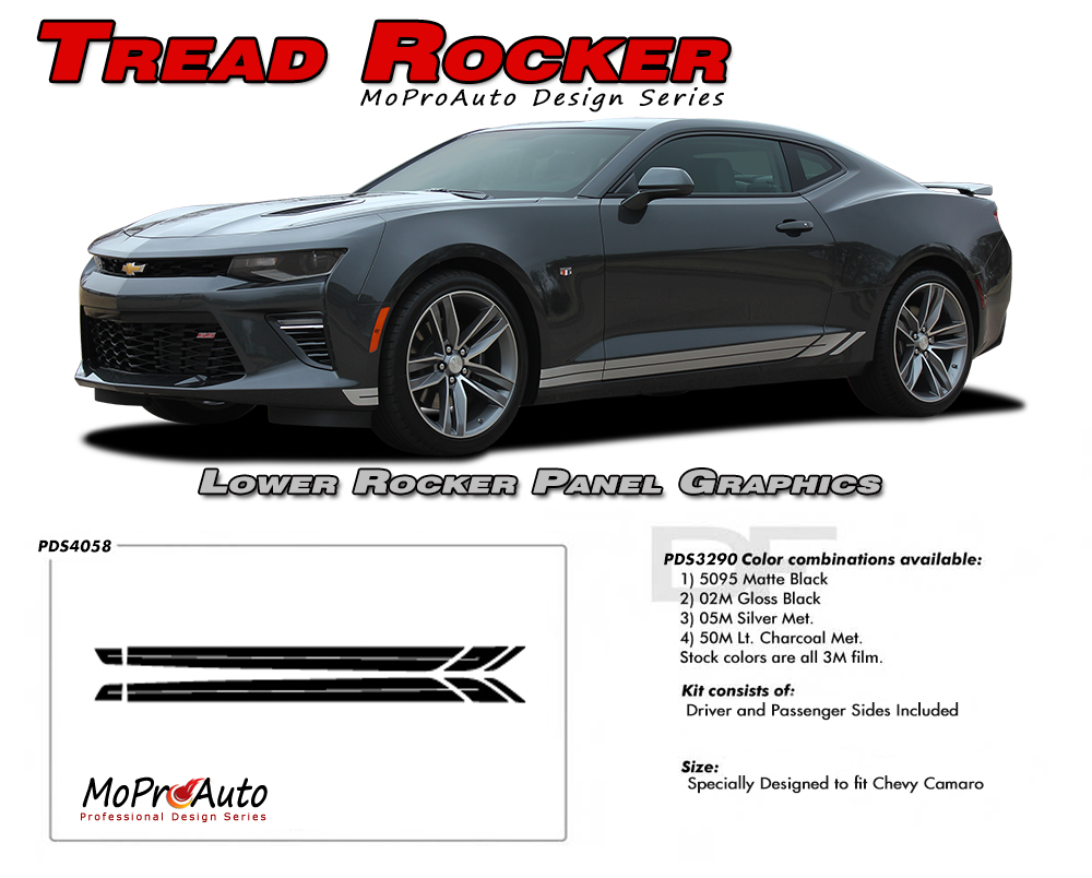 2016 2017 2018 Chevy SS RS Camaro TREAD ROCKERS Vinyl Graphics Kits, Decals, Stripes