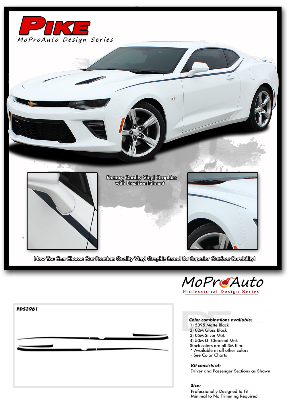 2016 2017 2018 Chevy SS RS Camaro PIKE Vinyl Graphics Kits, Decals, Stripes
