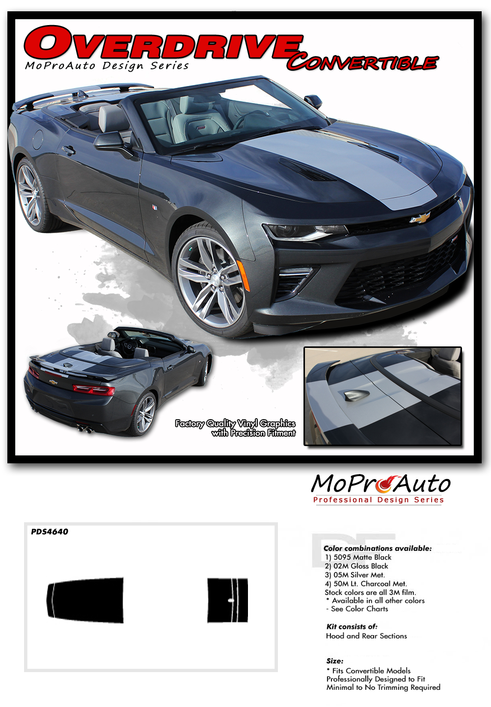 2016 2017 2018 Chevy SS RS Camaro Convertible OVERDRIVE Vinyl Graphics Kits, Decals, Stripes