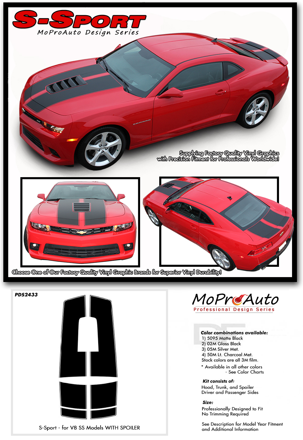 2014-2015 Chevy SS Camaro Vinyl Graphics Kits, Decals, Stripes by MoProAuto