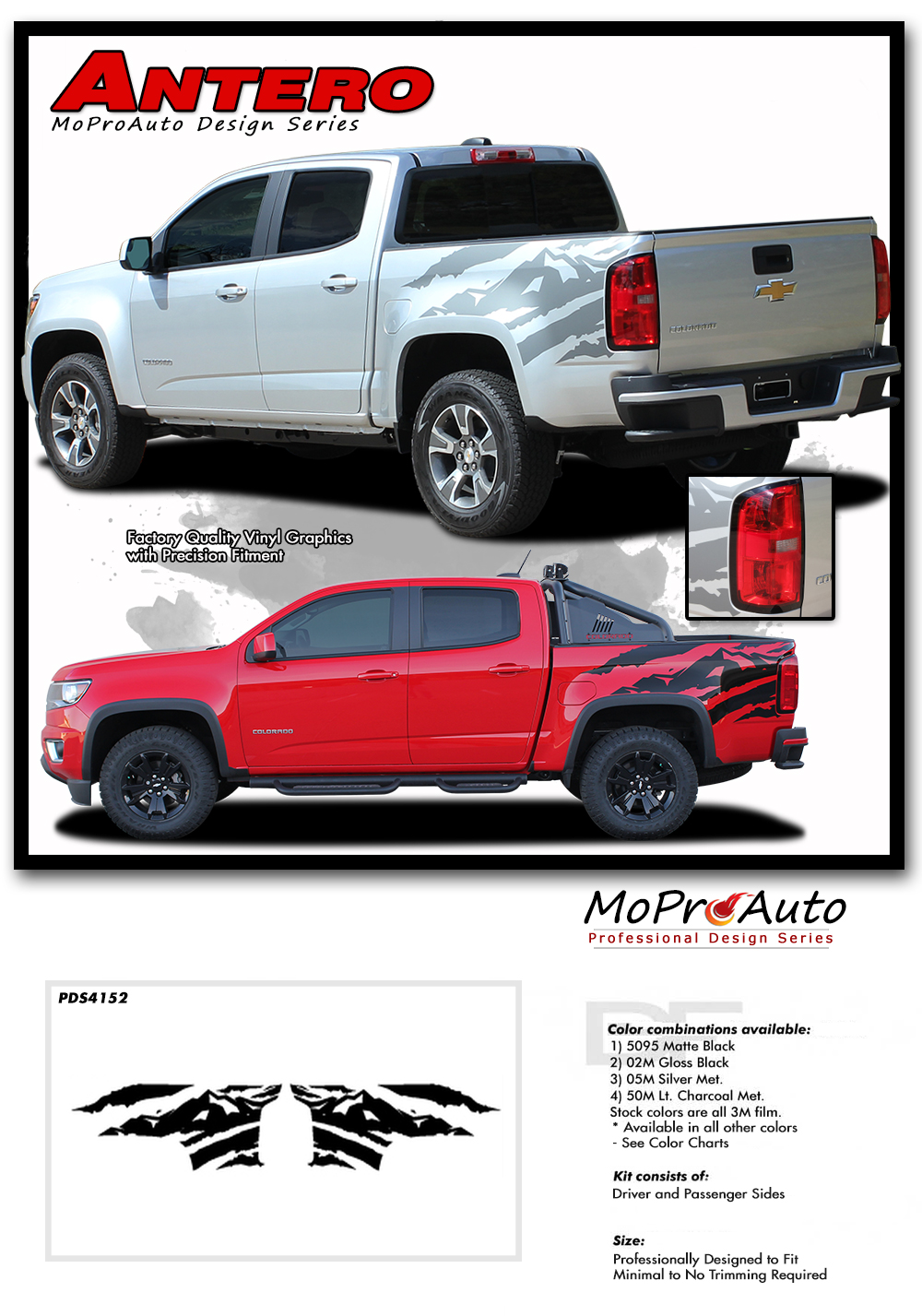 2015 2016 2017 2018 2019 ANTERO CHEVY COLORADO - MoProAuto Pro Design Series Vinyl Graphics, Stripes and Decals Kit