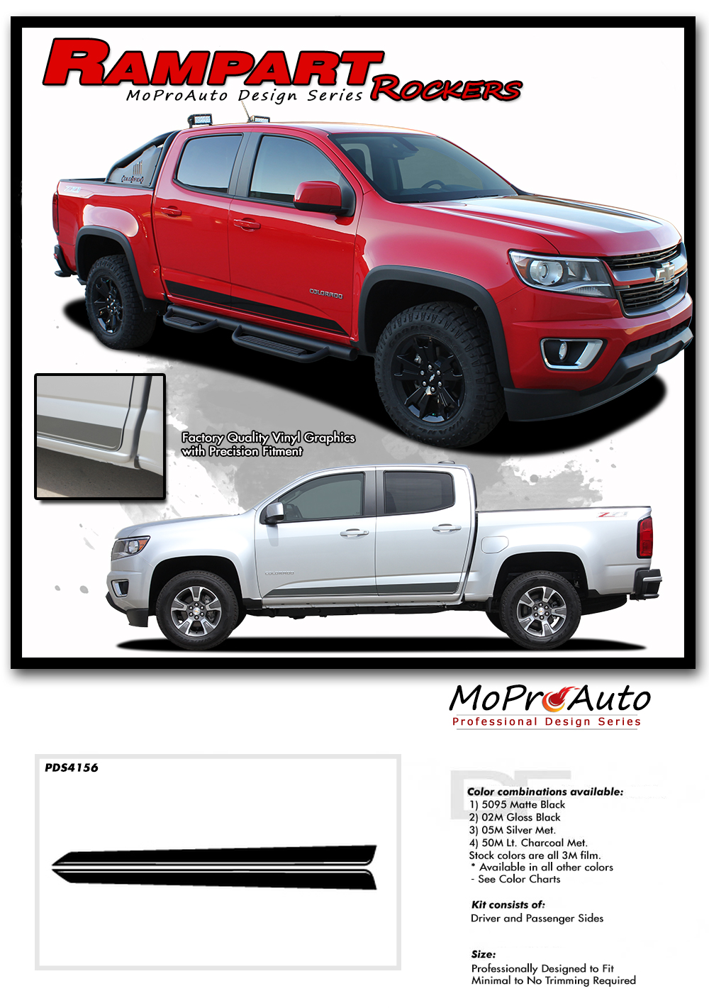 2015 2016 2017 2018 2019 2020 2021 RAMPART CHEVY COLORADO - MoProAuto Pro Design Series Vinyl Graphics, Stripes and Decals Kit