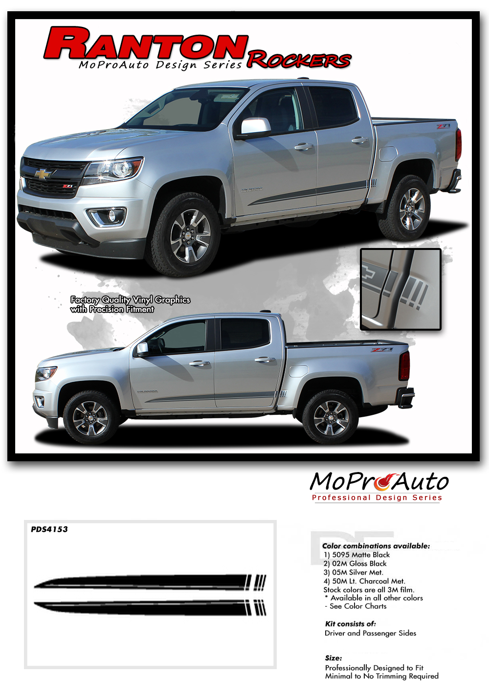 2015 2016 2017 2018 2019 2020 RANTON CHEVY COLORADO - MoProAuto Pro Design Series Vinyl Graphics, Stripes and Decals Kit
