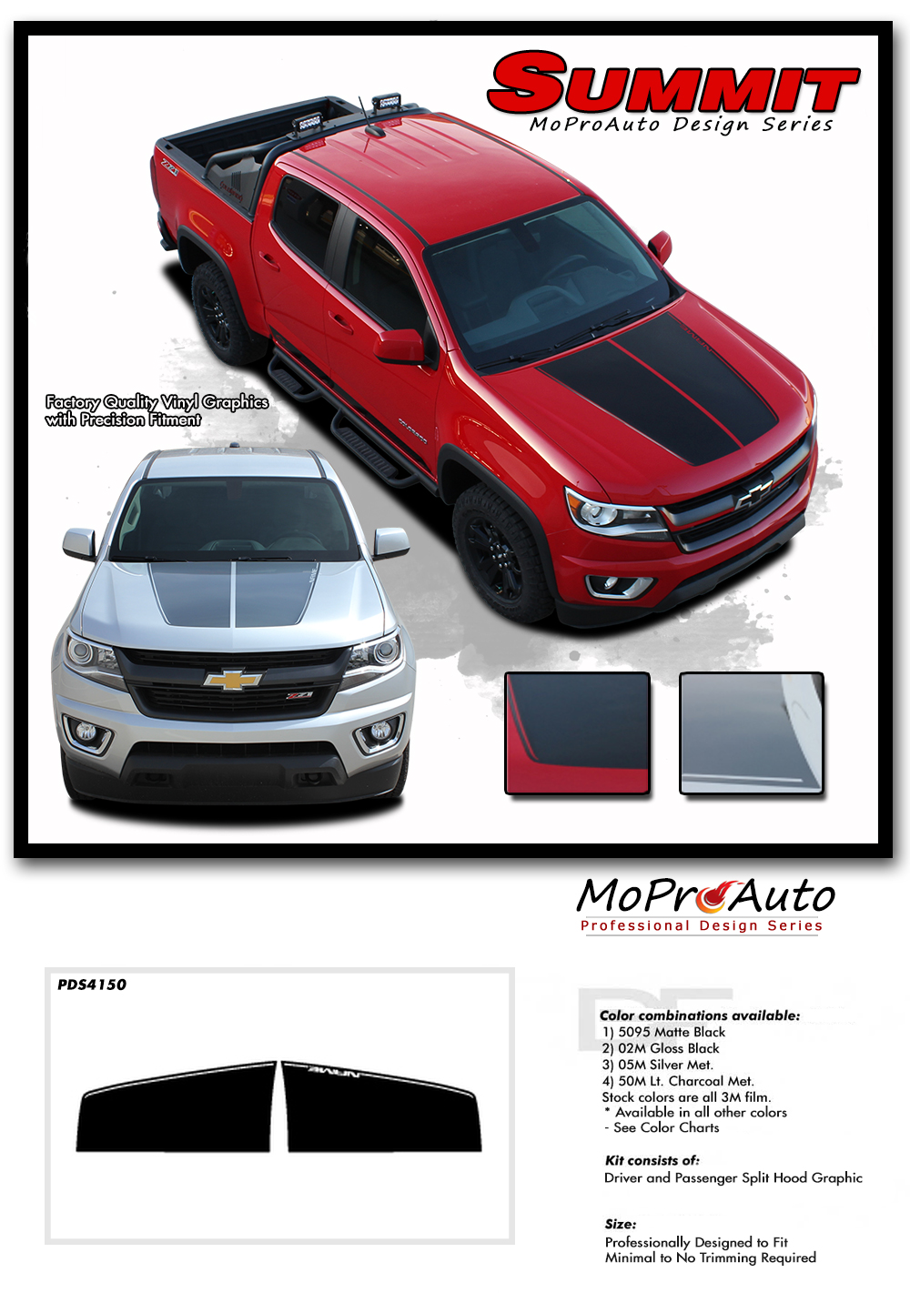 2015 2016 2017 2018 2019 CHEVY COLORADO - MoProAuto Pro Design Series Vinyl Graphics, Stripes and Decals Kit