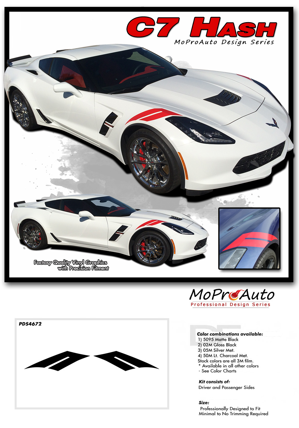 Chevy Corvette C7 Vinyl Graphics Stripes Striping and Decal Kits for 2014 2015 2016 2017 2018 2019 Models