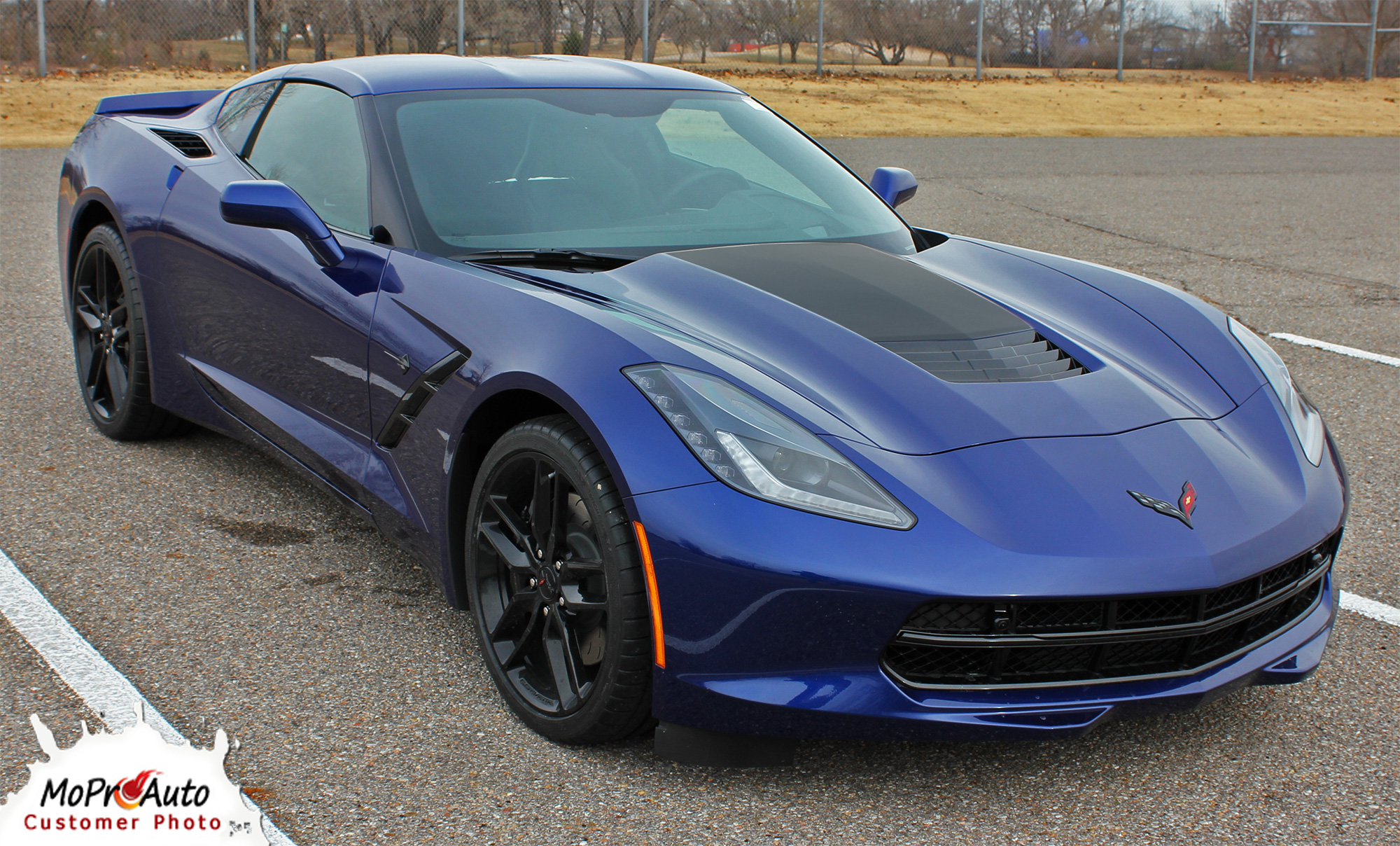 Chevy Corvette C7 Hood Blackout Vinyl Graphics Stripes Striping and Decal Kits for 2014 2015 2016 2017 2018 2019 Models