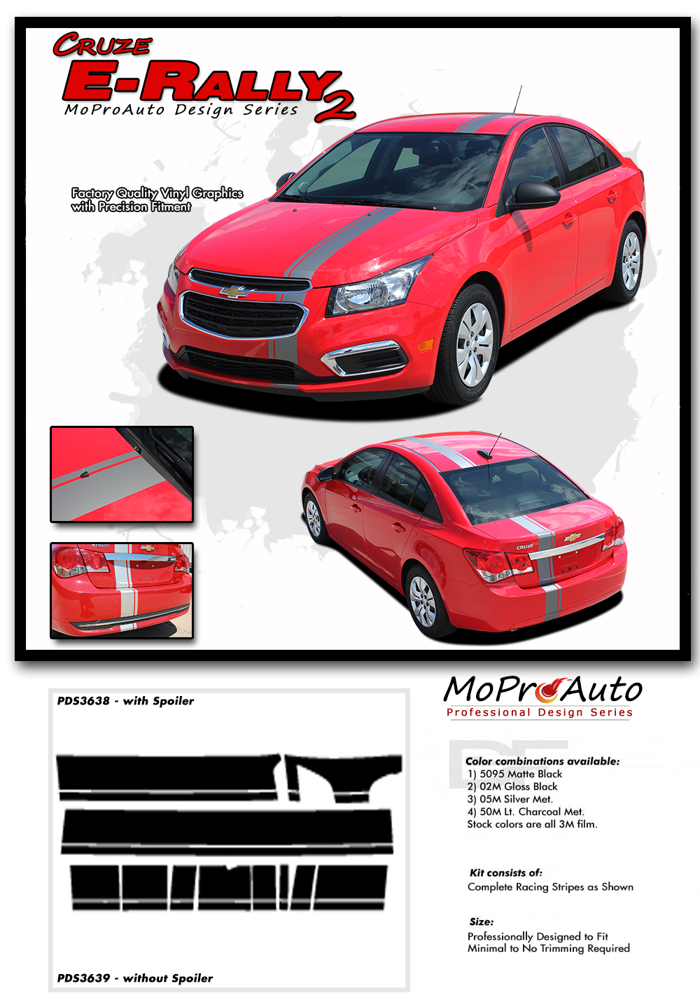 Chevy Cruze E-RALLY STRIPES Vinyl Graphics, Stripes and Decals Set